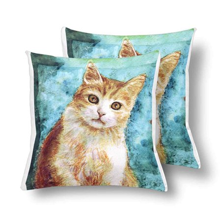 GCKG Watercolor Red White Cat Big Green Eyes Cute Animal Pillowcase Throw Pillow Covers 18x18 inches Set of 2 - image 3 of 3