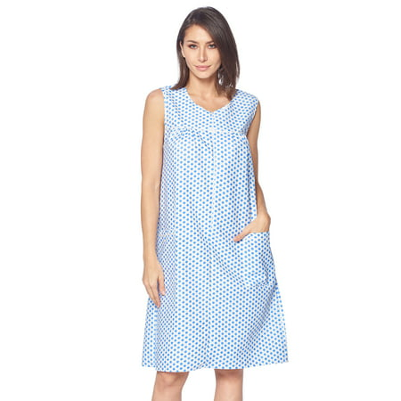 Casual Nights Women's Zipper Front House Dress Duster Sleeveless Housecoat Lounger Robe, Polka Dots Blue, Small