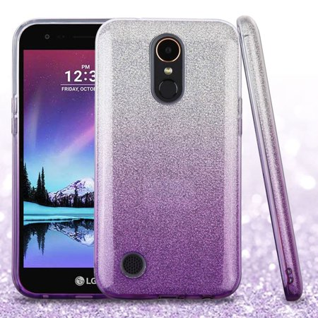 LG K20 Plus case, LG K20 V phone case, LG K10 phone case, by Insten Gradient Dual Layer [Shock Absorbing] Hybrid Glitter Case Cover For LG K10 (2017) / K20 Plus / K20 V / Harmony, Purple