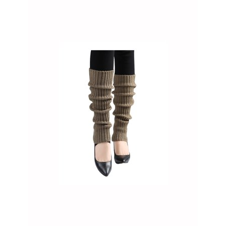 Unique Bargains Women's Knitted Over Knee Length Ruffled Cuff Leg Warmers Brown