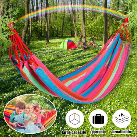 Image of 2-4 Person Rainbow Hammock Bed For Kids Children Rope Hanging Swing Bed Floor Mat w/ Carrying Bag Garden Hammock Games Play Camping Hiking Outdoor Summer Travel Canvas