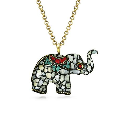 Bali Tribal Style Large Long Mosaic Stones Fashion Elephant Pendant Necklace For Women Gold Bronze Tone Metal