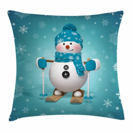 Snowman Throw Pillow Cushion Cover, Skiing with Ornate Snowflakes Winter Vacation Activity Fun Hobby, Decorative Square Accent Pillow Case, 16 X 16 Inches, Turquoise White Pale Brown, by Ambesonne