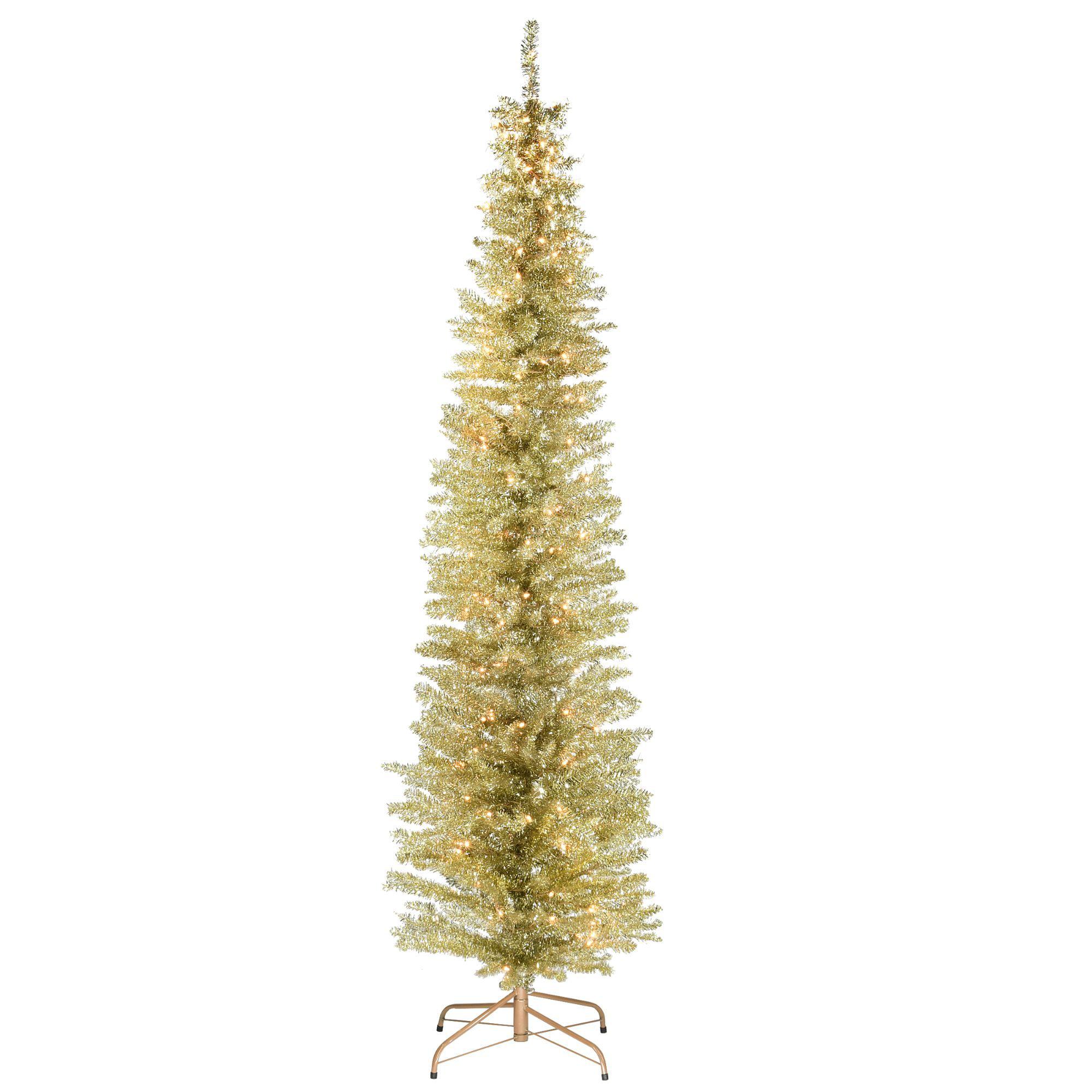 7 Pre Lit Pencil Champagne Gold Tinsel Artificial Christmas Tree Clear Lights Walmart Com Walmart Com