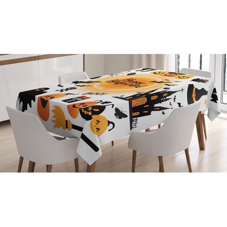 Halloween Decorations Tablecloth, All Hallows Day Objects Haunted House Owl and Trick or Treat Candy, Rectangular Table Cover for Dining Room Kitchen, 52 X 70 Inches, Orange Black, by Ambesonne for $<!---->