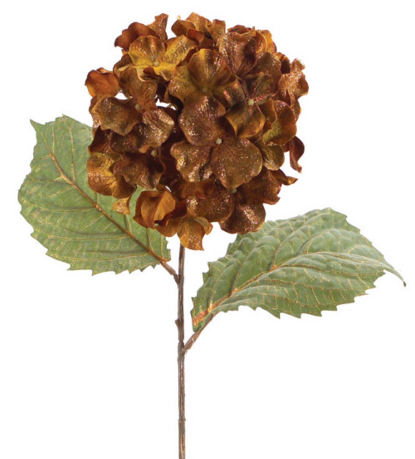 Pack of 6 Gold and Brown Artificial Silk Hydrangea Stem Flowers with Glitter