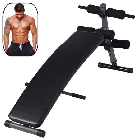 UBesGoo Adjustable Arc-Shaped Decline Sit up Bench, AB Fitness Crunch Slant Board, Folding Curved Incline Weight Bench, for Exercise Workout
