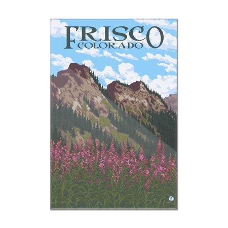 Frisco Railroad (Frisco, Colorado - Fireweed & Mountains - Lantern Press Poster (8x12 Acrylic Wall Art Gallery Quality))