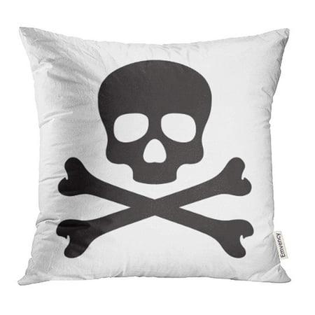 ARHOME Black Crossbones Skull Cross Bone Halloween Doodle White Death Poison Anatomy Pillow Case Pillow Cover 18x18 inch Throw Pillow Covers (Halloween Bones Clip Art)