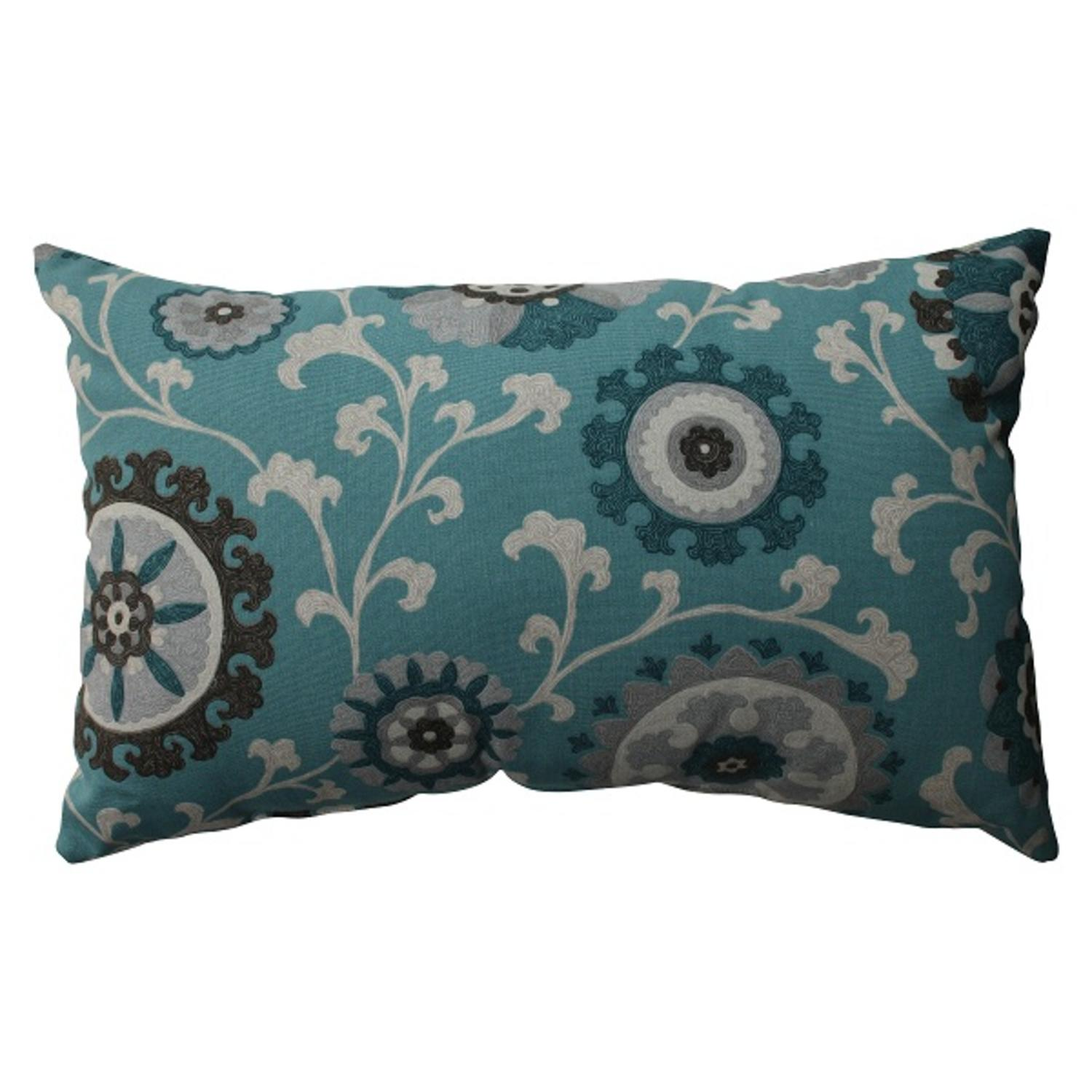 "18.5"" Teal Frenzy Rectangular Decorative Throw Pillow"