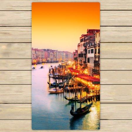 YKCG Venice Italy European Cityscape Gondola Floats on Grand Canal Hand Towel Beach Towels Bath Shower Towel Bath Wrap For Home Outdoor Travel Use 30x56 inches (Italian Gondola Driver)