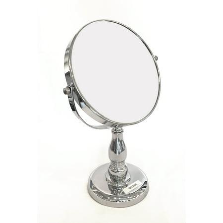 Round Double Sided Mirror - Splash Home Selena Round Makeup Double Sided Magnifying Standing Mirror, Diameter 7 In, Chrome Silver