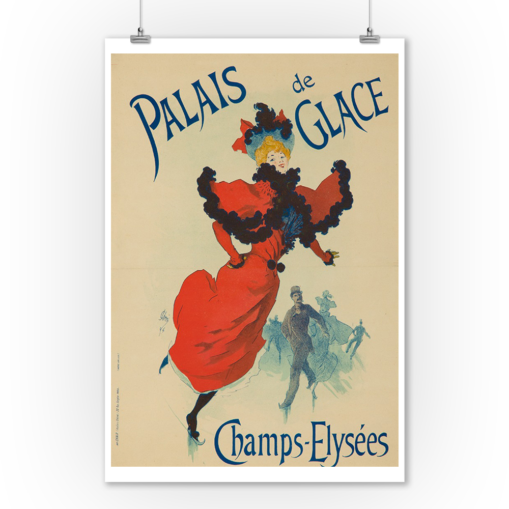 Palaise de Glace (small CF version) Vintage Poster (artist: Cheret) France c. 1894 (9x12 Art Print, Wall Decor Travel Poster)