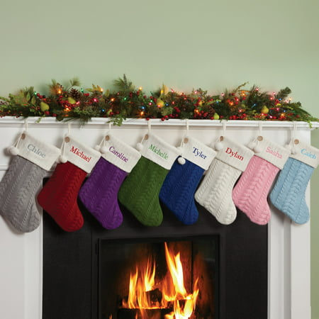 Christmas Village Stocking (Personalized Cable Knit Christmas Stocking, Available in 8 Colors )