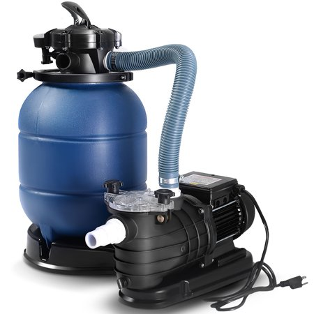 Costway New Pro 2450GPH 13\'\' Sand Filter Above Ground 10000GAL Swimming  Pool Pump