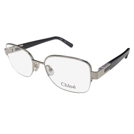 New Chloe 2119 Womens/Ladies Designer Half-Rim Silver / Black Trusted Luxury Brand High-end Hip Frame Demo Lenses 51-18-135 Eyeglasses/Spectacles