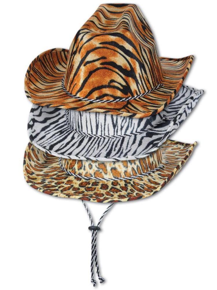 (Pack of 6) Animal Print Cowboy Hats assorted leopard, tiger, zebra