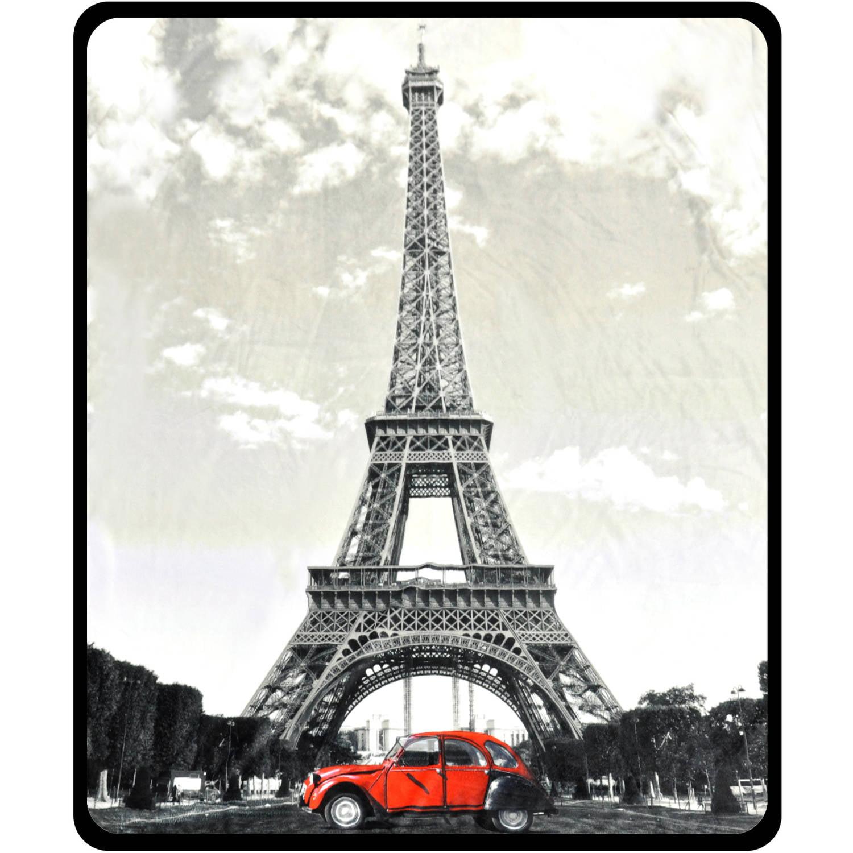 Photoreal Paris Eiffel Tower Red Car Fleece Throw