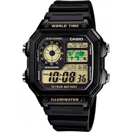- Men's AE1200WH-1BV Black Resin Quartz Sport Watch