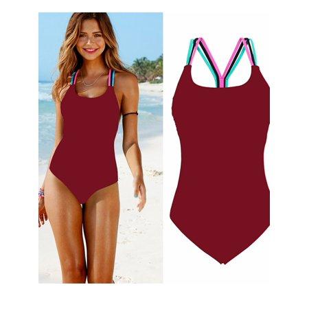 2018 New Fashion Womens One-piece Swimsuit Swimwear Push Up Monokini Bathing Bikini Set Sporty Beachwear (S,M,L,XL,US Size) - Trendy Monokini
