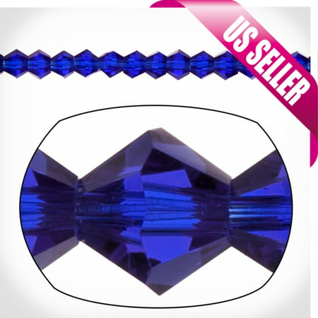 Sapphire Blue Bicone Crystal Beads 3mm, 16-Facet Surface Cutted Crystals Sold per pkg of 135cnt per -