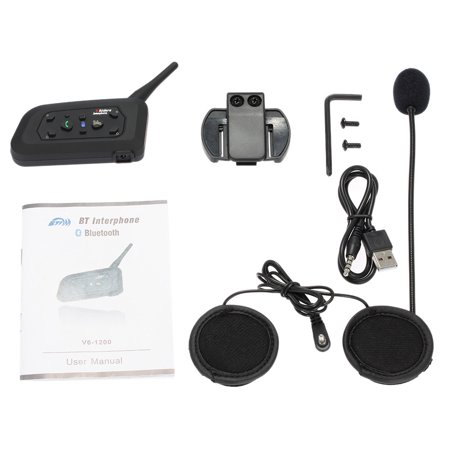 V6-1200 Motorcycle Bluetooth Headset / Intercom 1200M Hands-free Interphone Helmet Headset Black for Six Motorcycle