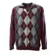 Tasso Elba NEW Wine Red Gray Argyle Mens Size 2XL 1/2 Zip Pullover Sweater $75