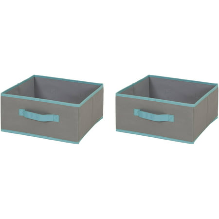 South Shore Fabric Storage Bin, 2 Pack, Medium Size, Gray and Turquoise