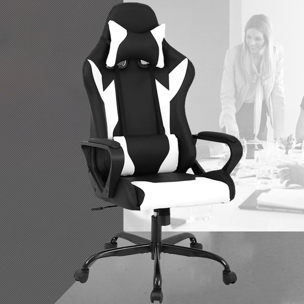 Racing Office Chair High Back Pu Leather Gaming Chair Reclining Computer Desk Chair Ergonomic Executive Swivel Rolling Chair Lumbar Support For Women Men White Walmart Com Walmart Com