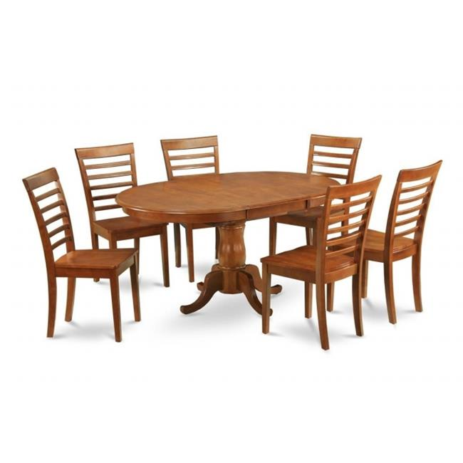 5PC Oval Dining Set with Single Pedestal with 18 in. butterfly leaf and 4 wood seat chairs