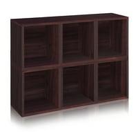 Way Basics Eco Stackable Modular Storage Cubes Plus, Espresso, 6-Pack