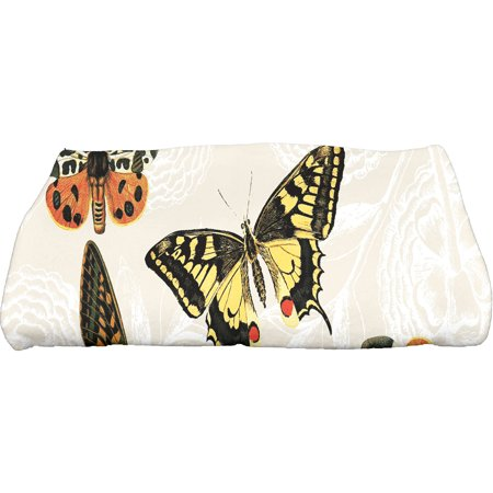 """Simply Daisy 28"""" x 58"""" Antique Butterflies and Flowers Animal Print Bath Towel"""