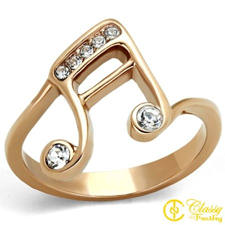 Classy Not Trashy® Base Clef Design Clear Crystal Stainless Steel Women's Ring Size 8