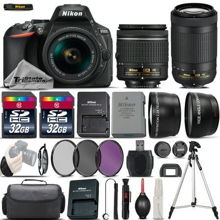 Nikon D5600 Digital SLR Camera + 18-55mm VR + Nikon AF P 70-300mm VR -4 Lens Kit