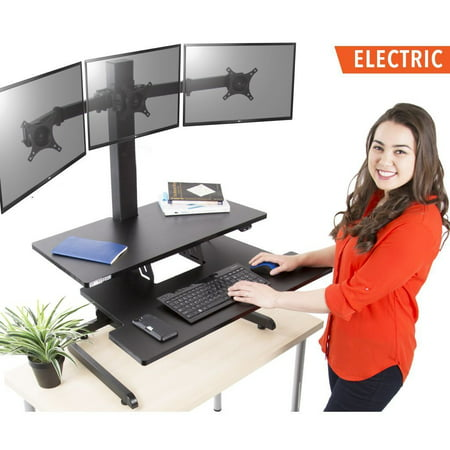 Techtonic Electric Monitor Arm Standing Desk by Stand Steady | Large Spacious Stand Up Desk | Easy Sit to Stand with the Push of a Button - Quiet! | 3 Levels to Maximize your Space! (3 Monitor