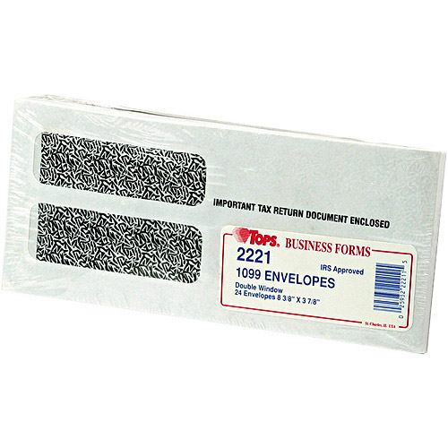 """TOPS Double Window Tax Form Envelope for 1099 Interest Forms, 8-3/8"""" x 3-7/8"""", 24pk"""