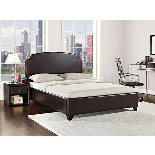 Maison California King Upholstered Bed, Vintage Espresso Faux Leather