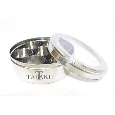 Tabakh Spice Container Masala Dabba - 7 Spoons - Clear Lid, Stainless Steel