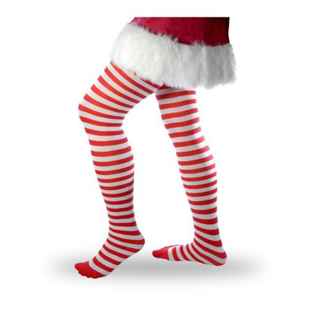 womens striped tights red and white size one size