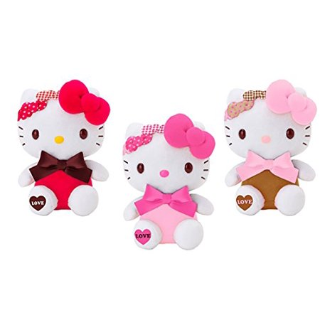 Hello Kitty Triple Bow Love Design Plush Toy Small Mascot Size Special Edition --1 piece per order-- 3 colors to choose from. (Brown) (Hello Kitty Valentines Day Cup)