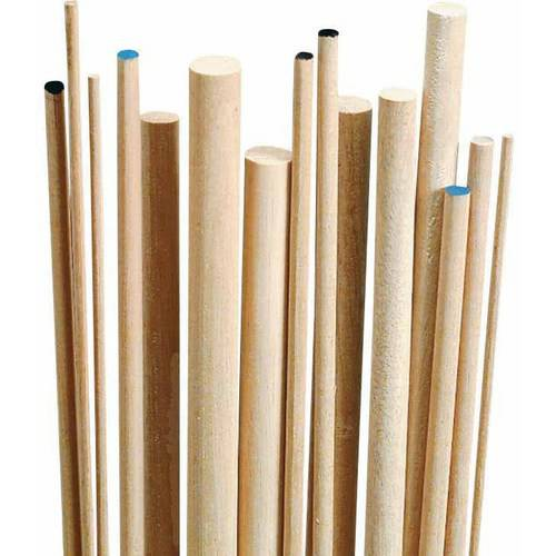 "Chenille Kraft Wood Smooth Birch Dowel, 0.5"" x 36"", White, Pack of 10"