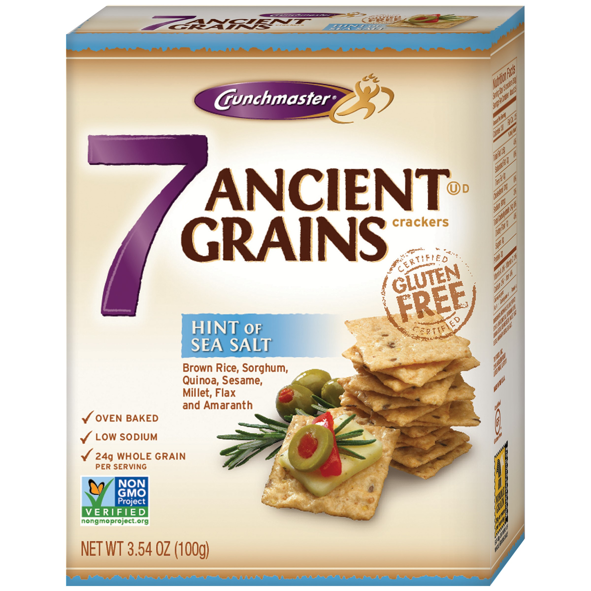Crunchmaster 7 Ancient Grains with Hint of Sea Salt Crackers 3.54 oz. Box by Crunchmaster