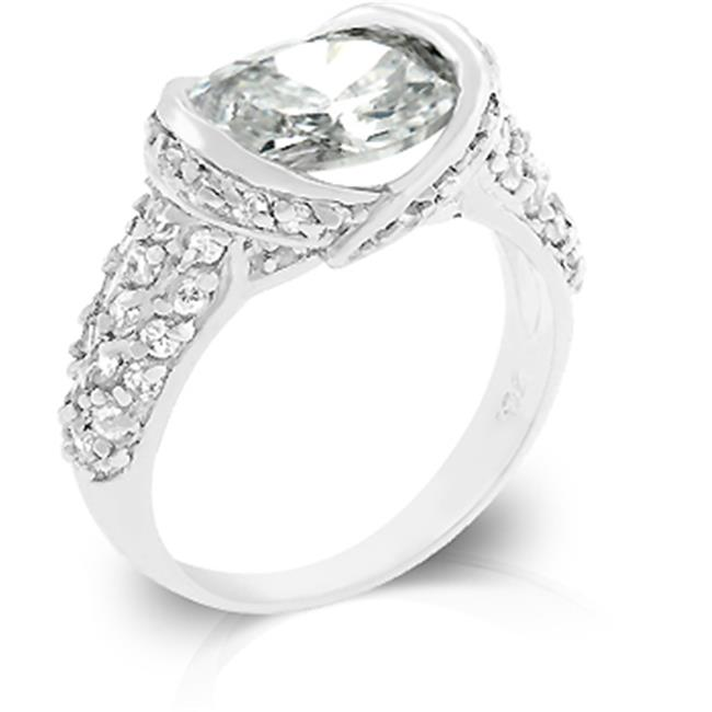 Kate Bissett R07837R-C01-08 White Gold Rhodium Classic Fashion Ring with Pave Clear CZ and 3 Carat Center Stone in Silvertone - Size 8