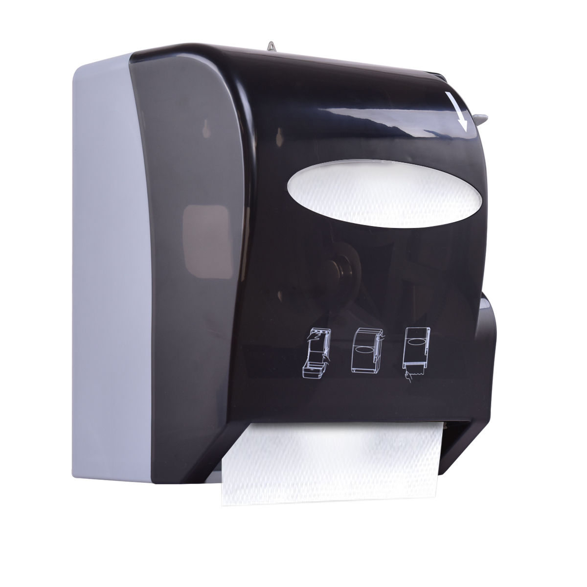 Costway Roll Paper Towel Dispenser Wall Mount Heavy Duty Commercial Home Use Black