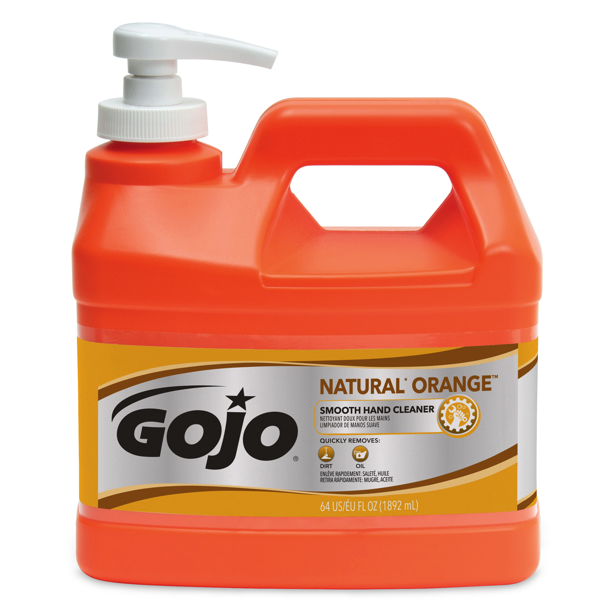 GOJO® NATURAL* ORANGE Smooth Hand Cleaner - 1/2 Gallon Pump Bottle