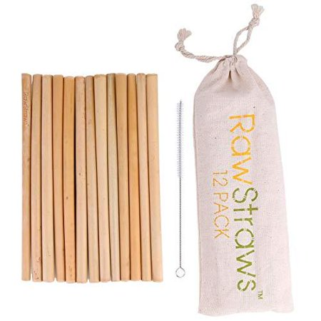 Organic Bamboo Straws Reusable – Multiple Packs Eco Friendly Biodegradable Non Plastic Wood Drinking Straw (12 (Bamboo Drinking Straws)