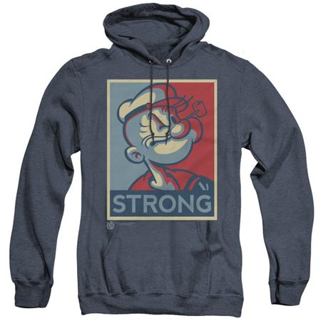 Trevco Sportswear PYE709-AHH-3 Popeye & Strong Adult Heather Hoodie, Navy - Large