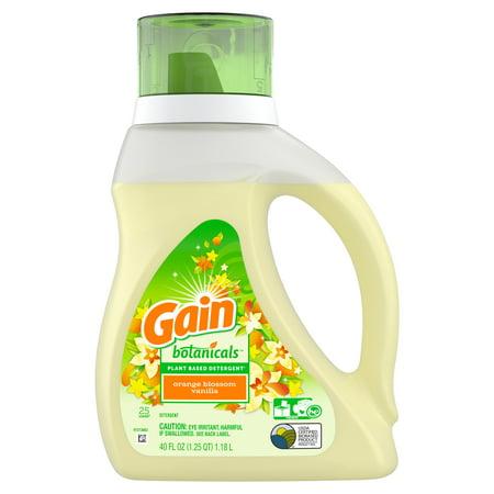 Gain Powder Detergent (Gain Botanicals Plant Based Laundry Detergent, Orange Blossom Vanilla, 25 Loads 40 fl oz )