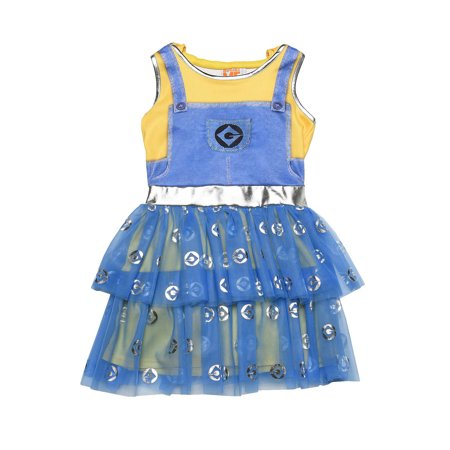 Minions Girl Costume (Girls Minions Despicable Me Halloween Costume Dress Hood Mask Pretend)