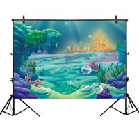 MOHome Polyster 7x5ft photography Under The Sea Little Mermaid Backdrop ocean Nautical Birthday party banner photo studio booth background newborn baby shower photocall